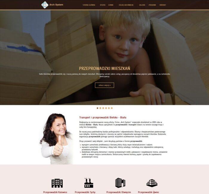 Strona internetowa dla firmy Arch System Przeprowadzki Bielsko-Biała
