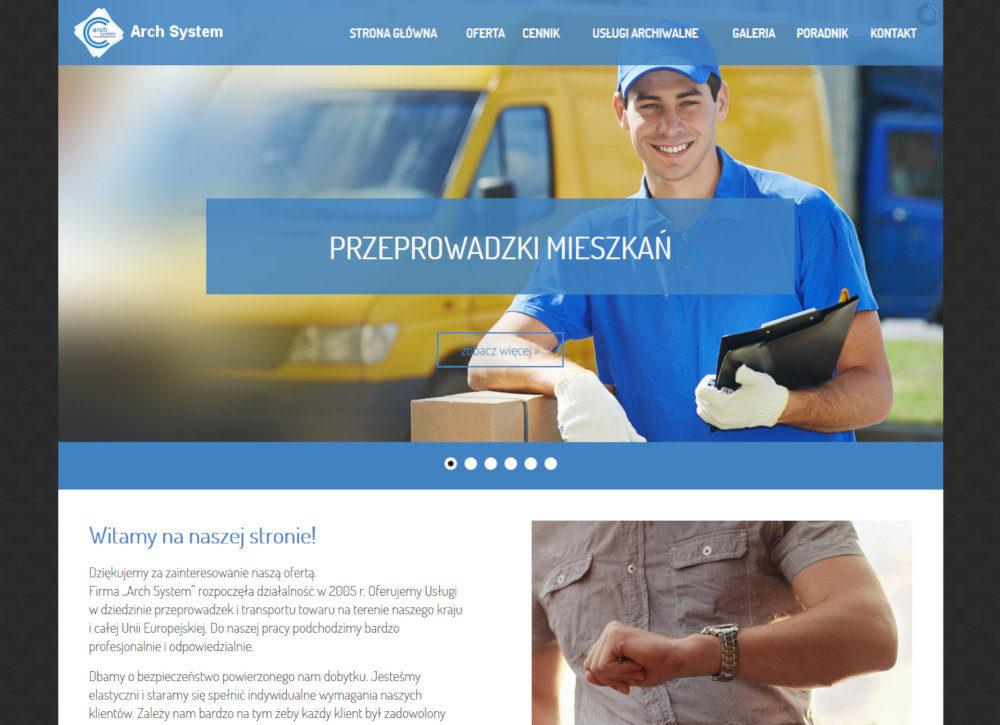 Strona www dla firmy Arch System Przeprowadzki Cieszyn