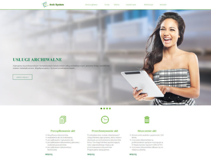 Strona internetowa dla firmy Arch System Usługi Archiwalne