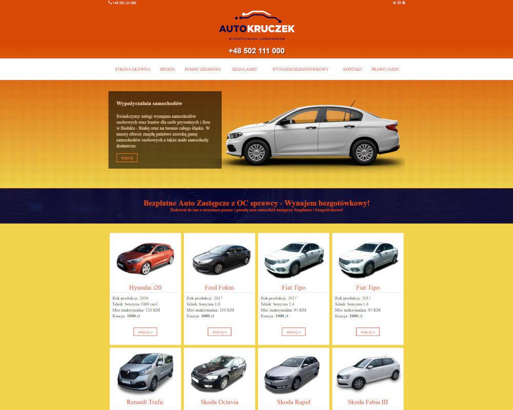 Strona wykonana dla wypożyczalni Auto Kruczek