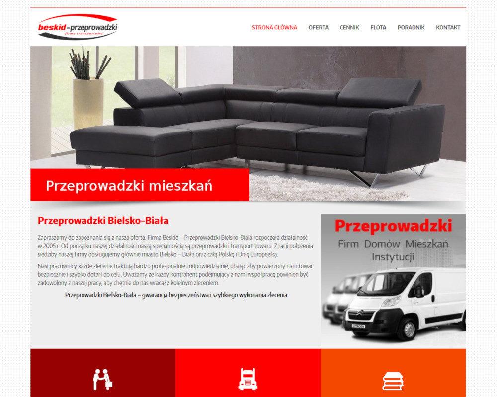 Strona internetowa wykonana dla firmy Beskid Pzeprowadzki