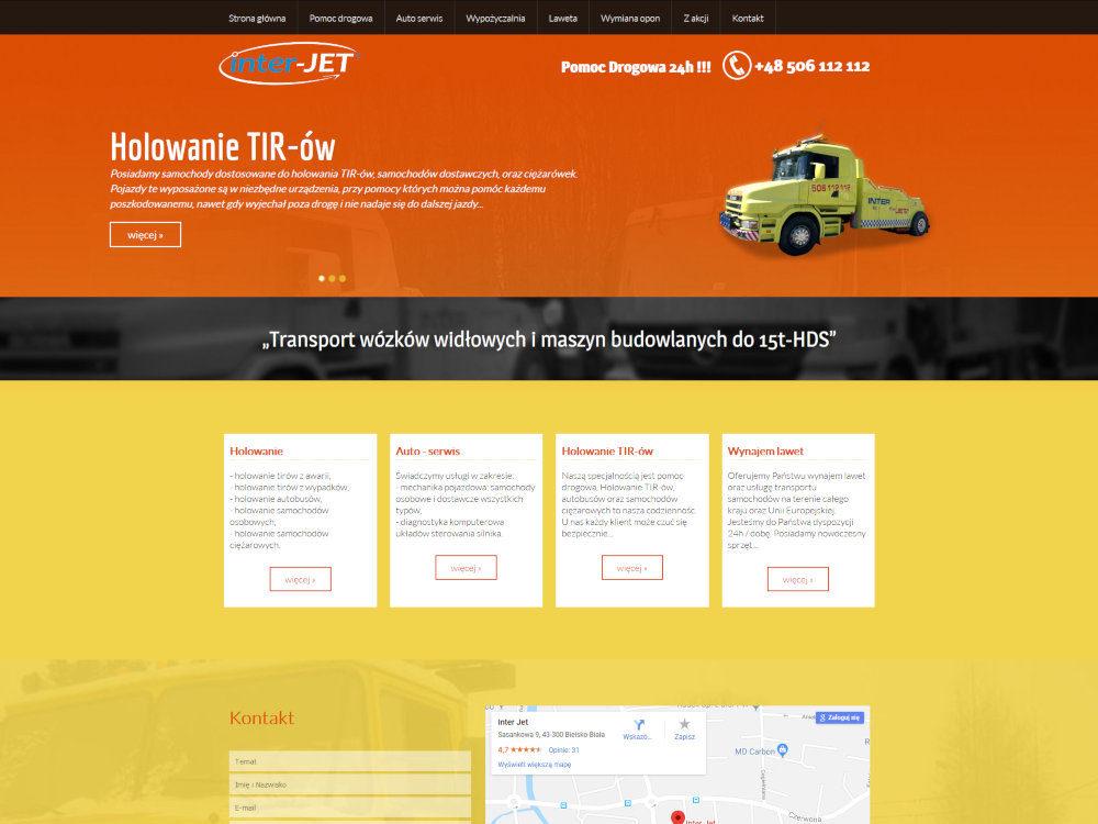 Strona internetowa wykonana dla firmy Inter Jet