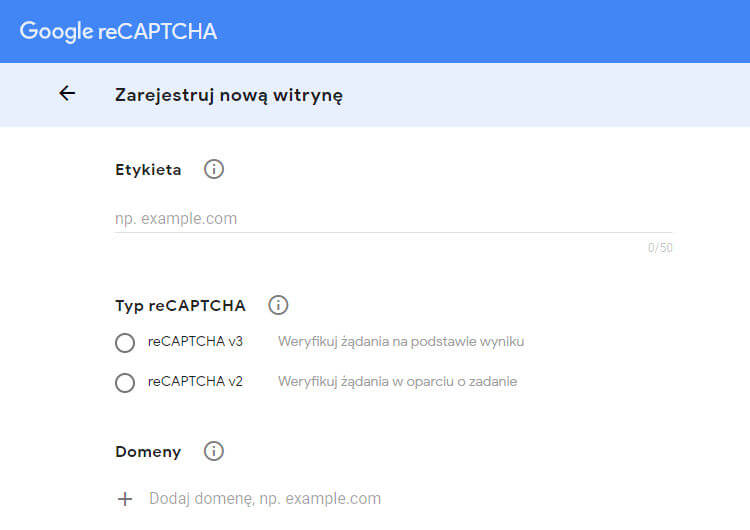 Google reCAPTCHA zarejestruj nową witrynę